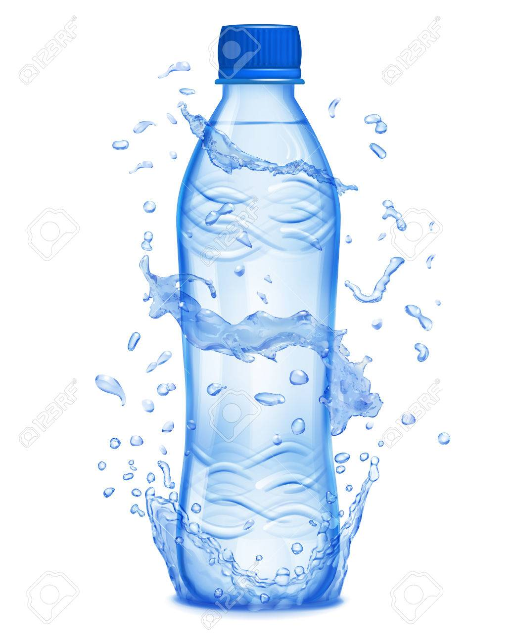 Water splashes in blue colors around a plastic bottle